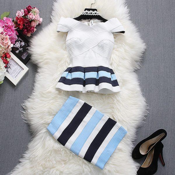 Alpha-customization-Women-Fashion-Tops-Skirt-Outfits-Summer-Slash-Neck-Short-Sleeve-Striped-Ruffles-Dress-Top-1.jpg