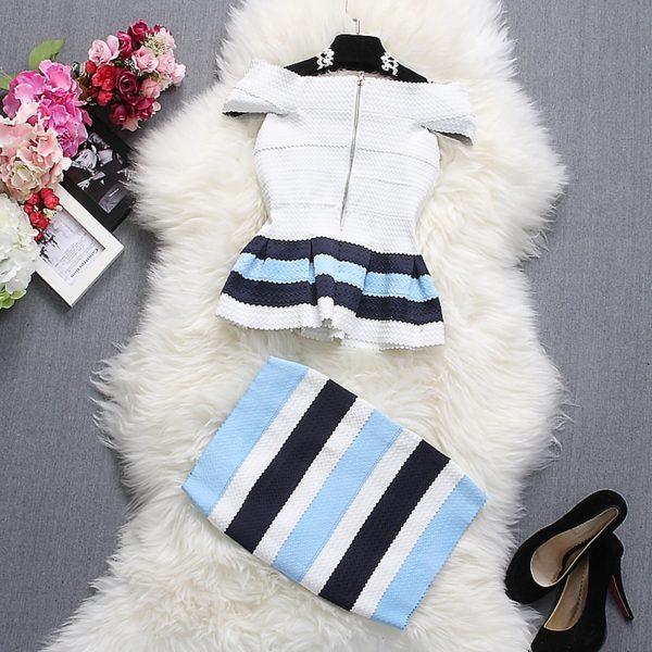 Alpha-customization-Women-Fashion-Tops-Skirt-Outfits-Summer-Slash-Neck-Short-Sleeve-Striped-Ruffles-Dress-Top-2.jpg