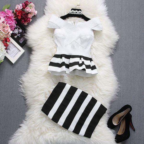 Alpha-customization-Women-Fashion-Tops-Skirt-Outfits-Summer-Slash-Neck-Short-Sleeve-Striped-Ruffles-Dress-Top-3.jpg